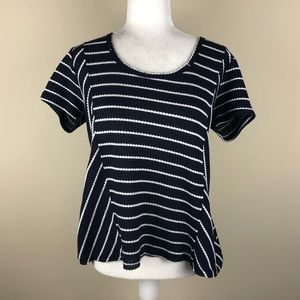 SOCIALITE Navy White Striped Thermal Top Medium